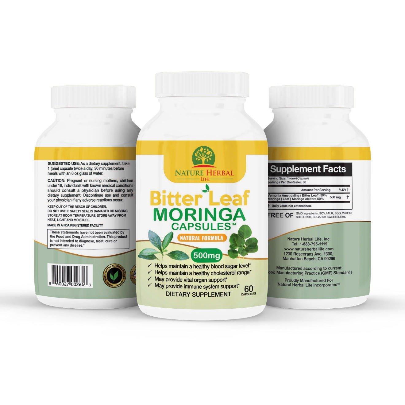 Bitter Leaf Moringa Capsule | capsules de Moringa à la feuille amère
