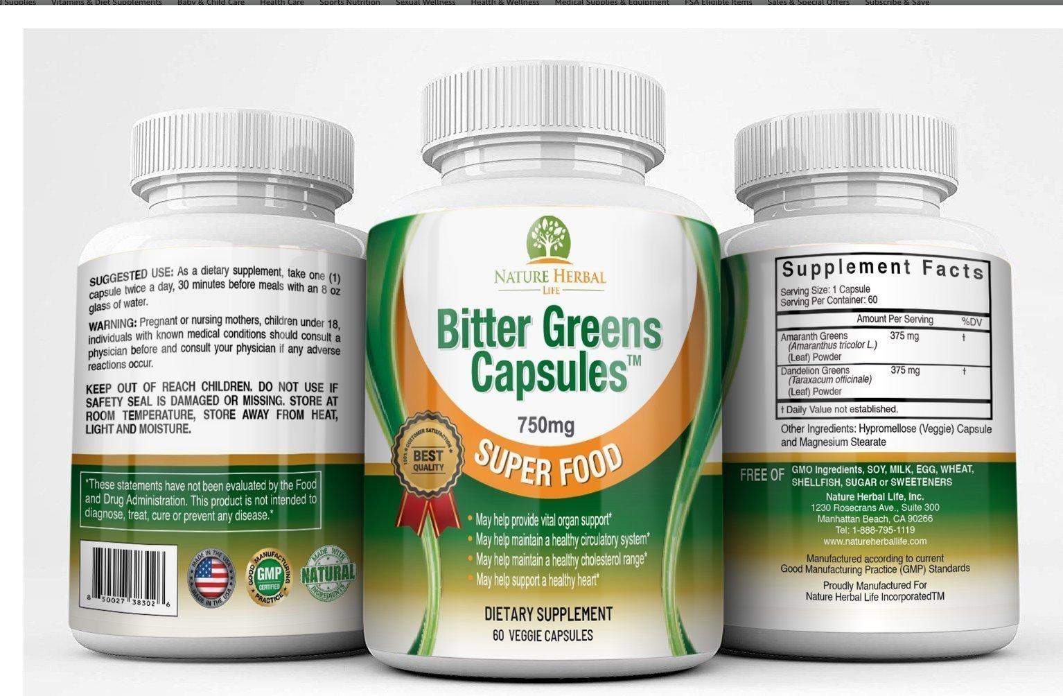 Bitter Green Capsules . 3 bottles